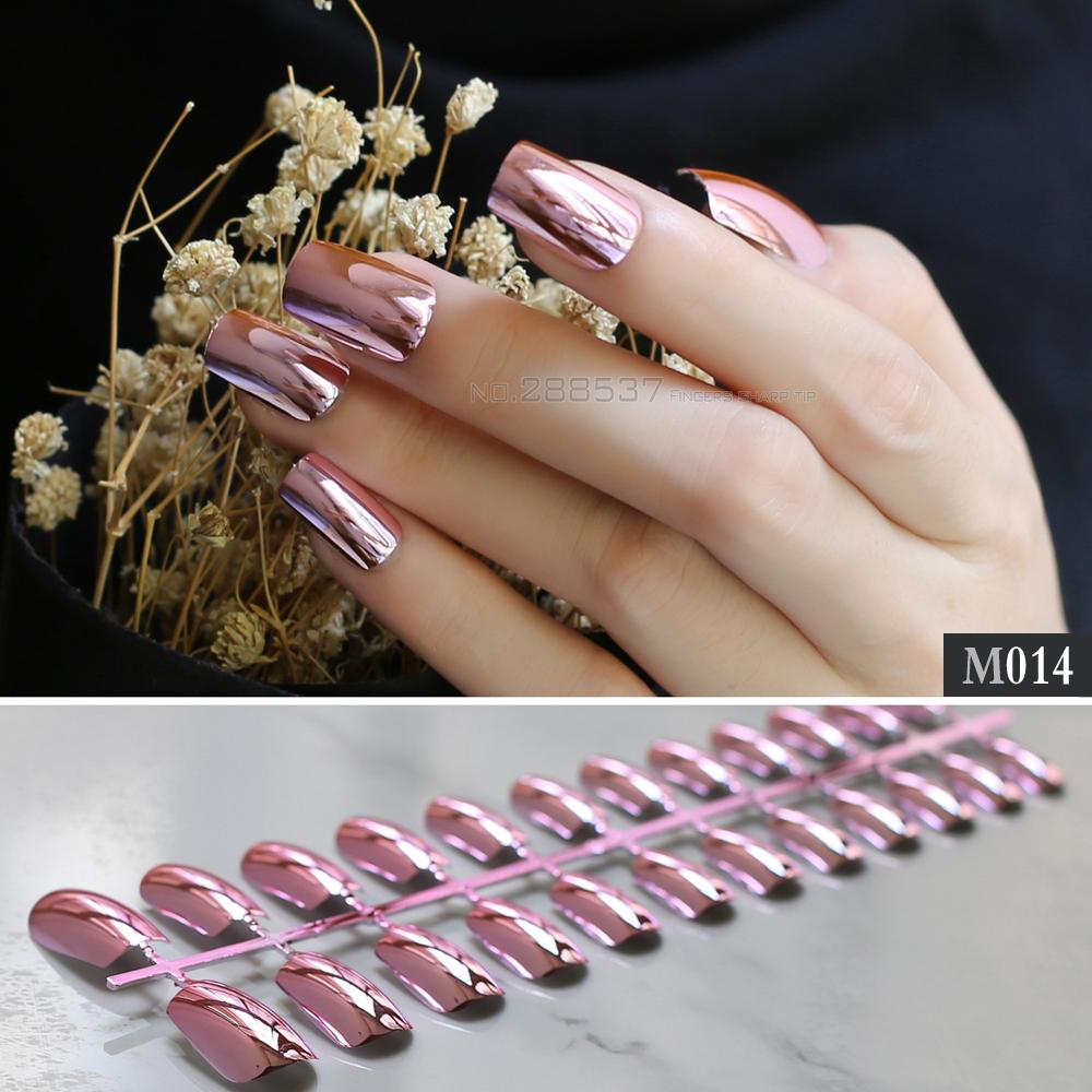 Solid Metal Long Section Finish Shape Press On Nails Full Set Pink ...