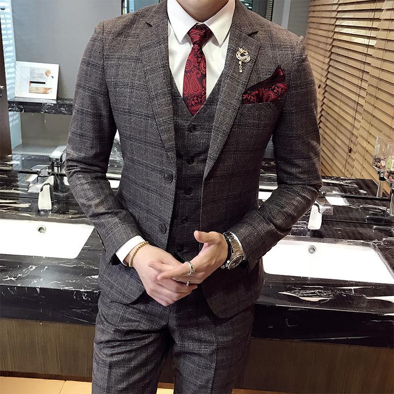 77389edef5bbd Satın Al Ücretsiz Kargo Yeni Moda Yüksek Kaliteli Erkek Ekose Takım Elbise  Rahat Iş Damat Gelinlik Takım Elbise Erkek Set Gri, $124.97 | DHgate.Com'da