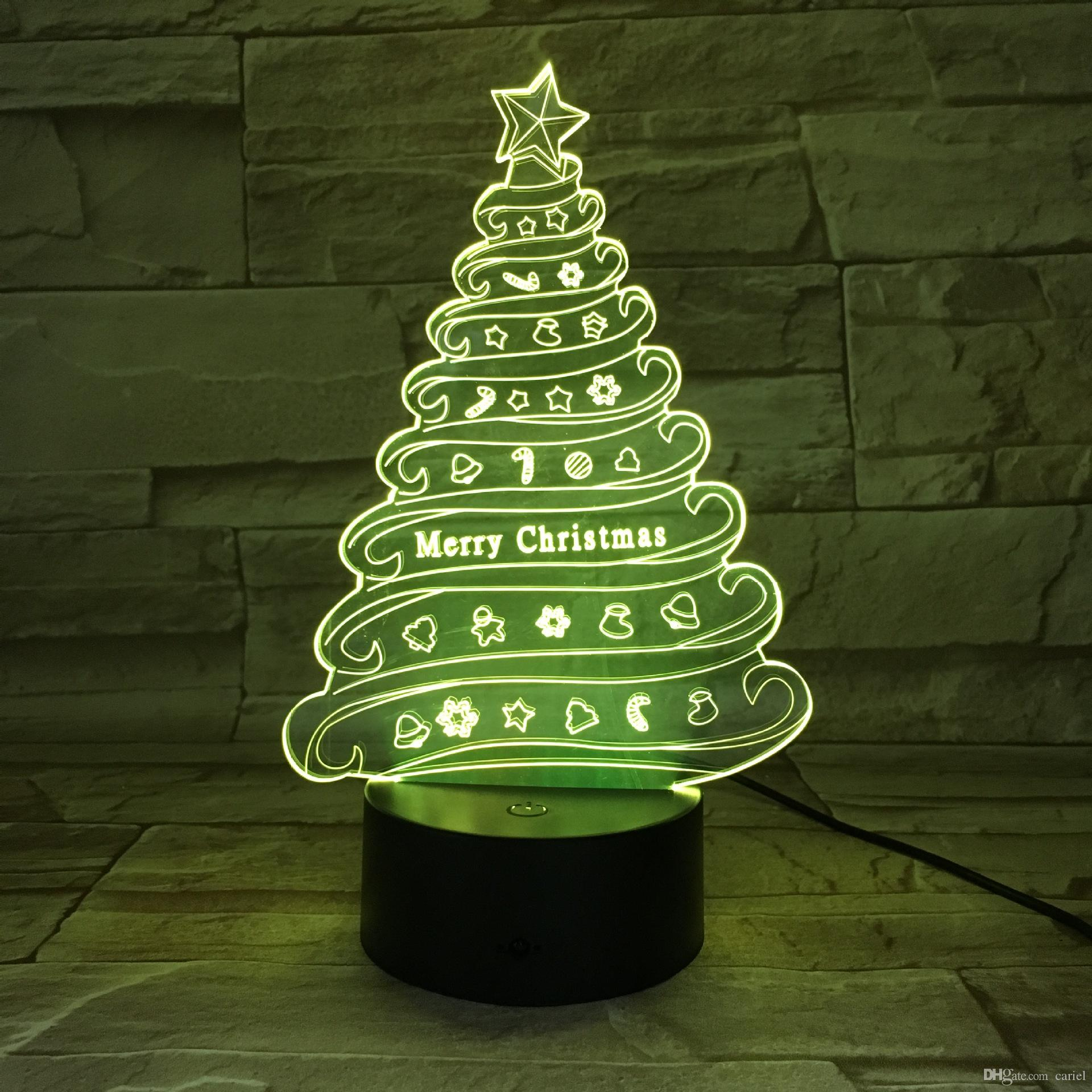 Remote Control 3d Christmas Gifts Tree Table Lamp Usb Colorful ...