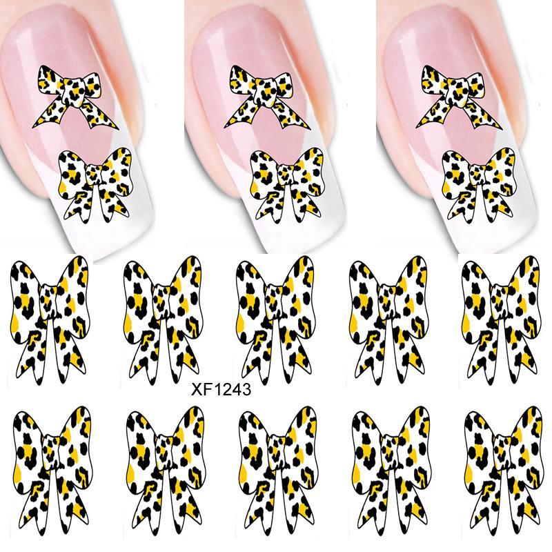 1PCS 3D DIY Cartoon Leopard Bow Nail Art Stickers Water Transfer Decal Love  Heart Pattern Tattoo Designs Manicure Art Decoration