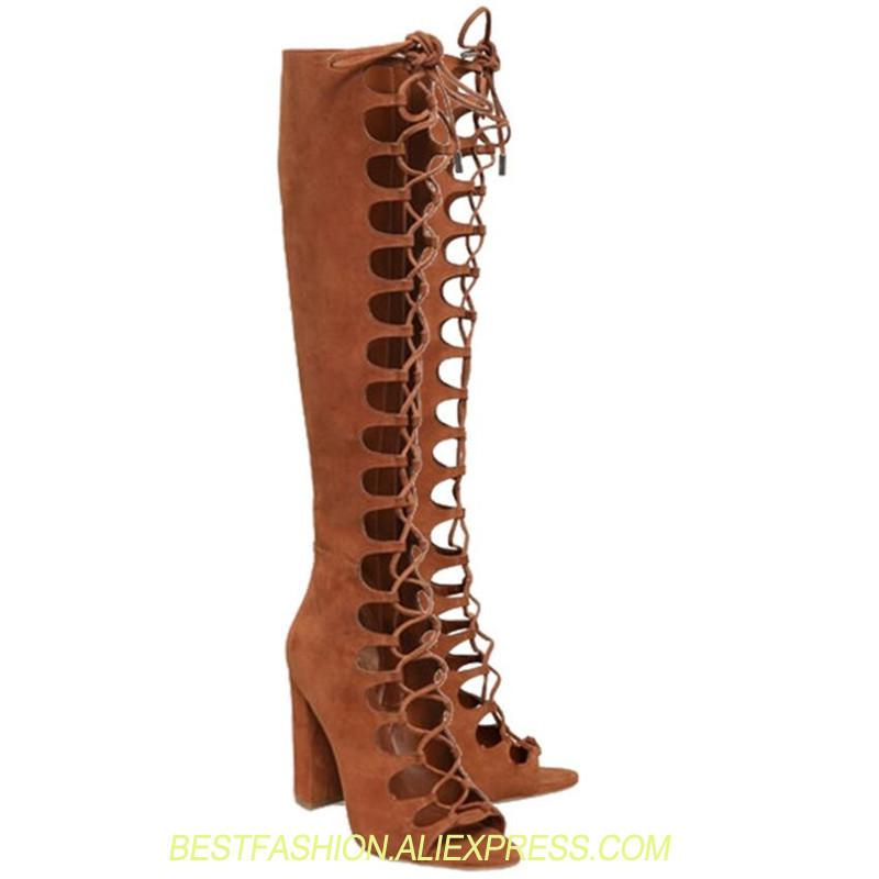 15c8d3b824c Knee High Lace Up Women Boots Peep Toe Zapatos Mujer Sexy Rome Shoes Woman  Brown Summer Long Booties Lady Pumps Stiletto Botas Cheap Cowgirl Boots Mens  ...