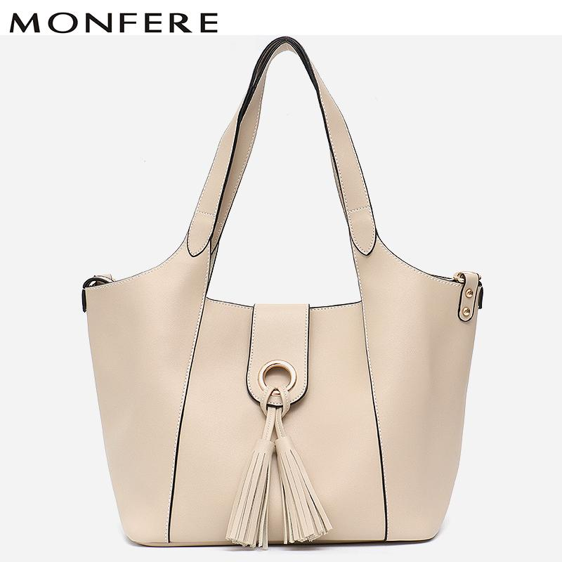 f41dc2135e8 MONFERE Brand Faux Leather Shoulder Bags Detachable Liner Bucket Bag Luxury  Tassel Handbag Women Bags Designer 2018 Large Tote Hobo Purses Leather Bags  For ...