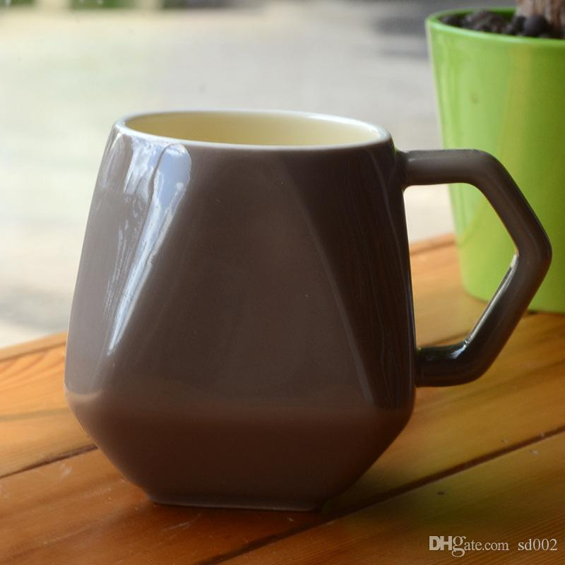 Creative Diamond Shape Ceramic Mug Multi Color Milk Coffee Cup With Cover Heat Resisting 5 5xd C R