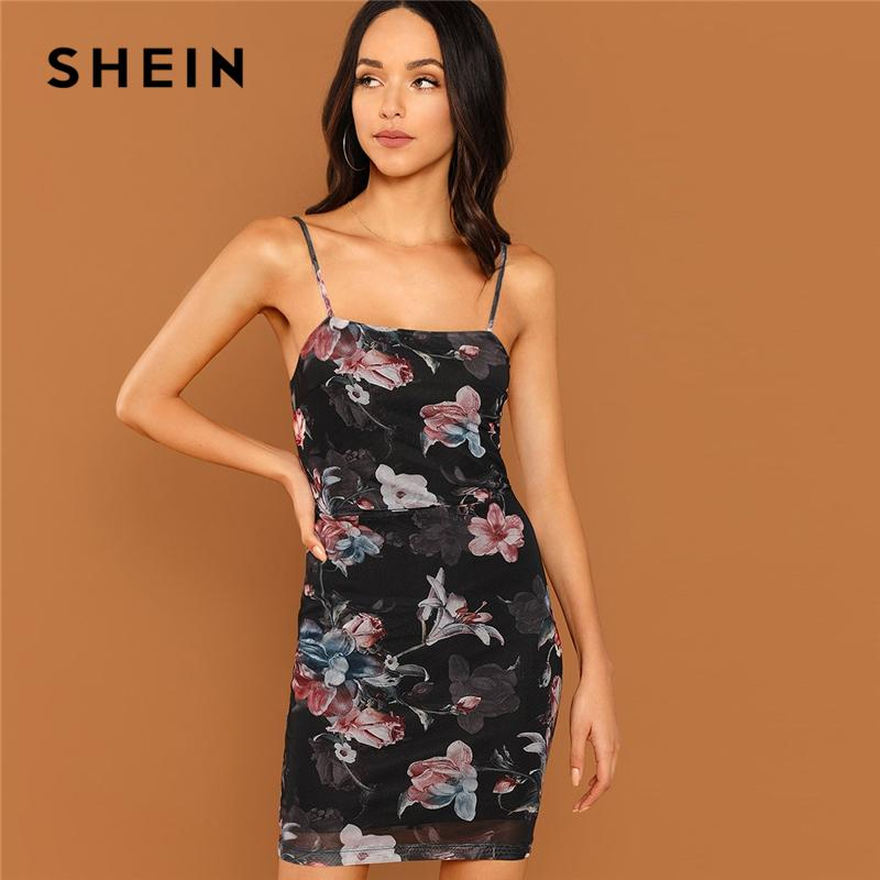 0064cb1bbf SHEIN Black Flower Print Cami Dress Sexy Sleeveless Spaghetti Strap Slim  Dresses Women Autumn Elegant Highstreet Party Dress Blue Dresses Plus Size  Cocktail ...