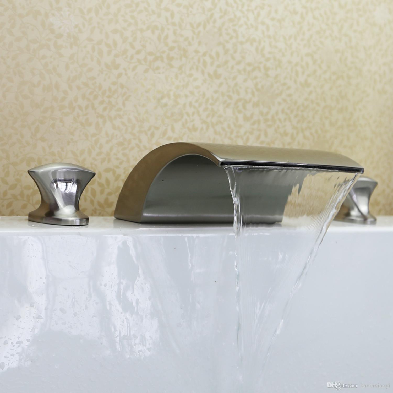 2018 Brushed Nickel Tub Waterfall Faucet Free Ship Roman Tub Bath