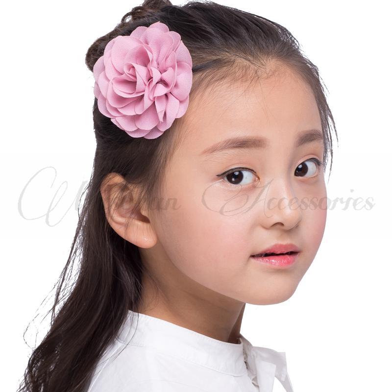 i 8.5cm 2017 Fiori in tessuto rosa laminato Fiori bambini Accessori capelli bambine Petali in chiffon