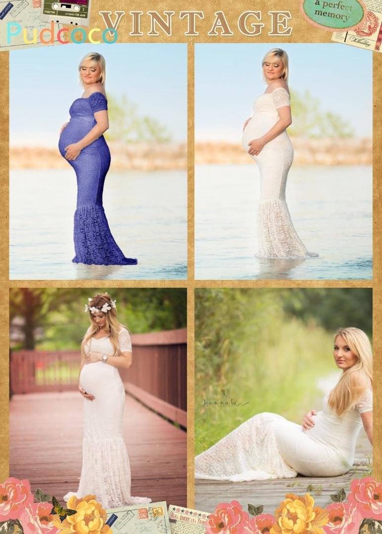 79eee298bc5 2019 Beautiful Pregnant Women Photography Dress Maternity Maxi Party Dresses  Lace Gown Clothes From Paradise02