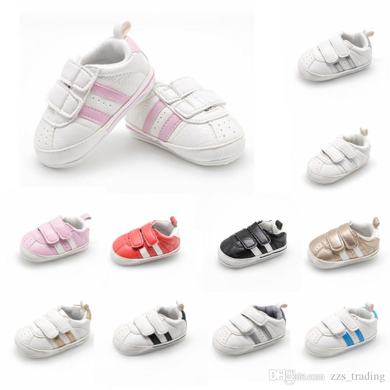 2019 2018 New Fashion Stripe Sneakers Newborn Baby Crib Shoes Boys Girls  Infant Toddler Soft Sole First Walkers Baby Casual Shoes From Zzs trading 9019d3572992
