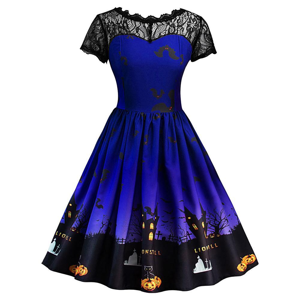 52635da48a2fac Großhandel Wipalo Halloween Kürbis Print Kleid Frauen Spitze Patchwork Pin  Up Kleid 50er Jahre Swing Rockabilly A Line Party Kleider Femme Vestidos  Von ...
