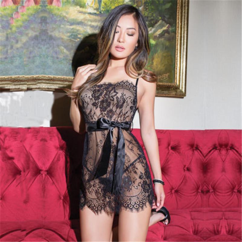 Sexy Babydoll Strappy Backless Sleepwear Women Lace Sheer Bowknot ... 29fdb76cb