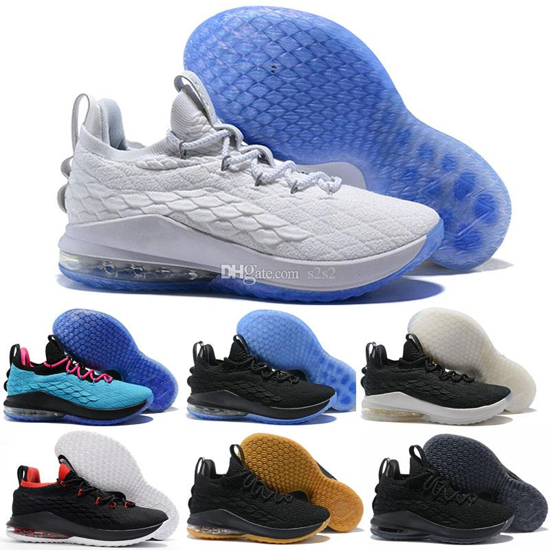 best sneakers c34eb fae0b Acheter Nouveau 2018 Lebron Xv 15 Bas Noir Blanc Rouge Oreo Chaussures De  Basket Ball Pour Homme De Haute Qualité Lebron 15 Sport Sneakers Taille 7  12 De ...