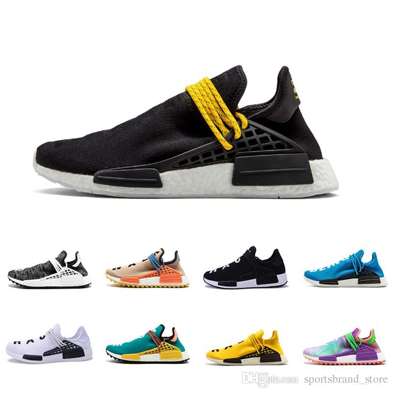 7dcd5e9f2d087 2018 Black Yellow Human Race Black Pale Nude Running ShoesCream Core ...