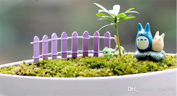 Venta caliente colorida planta de maceta DIY valla de madera bonsai artesanía micro paisaje mini cerca de bambú T3I0101