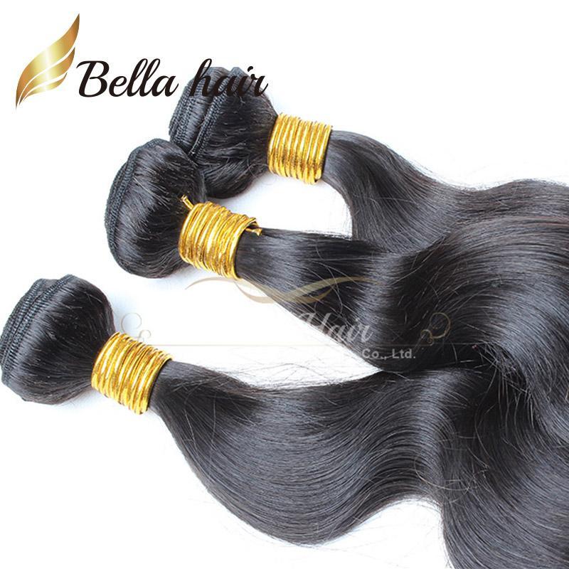 Bella Hair® 100% obearbetad brasiliansk förlängning Naturfärg Hårväv 4 buntar 9a Vågig kroppsvåg