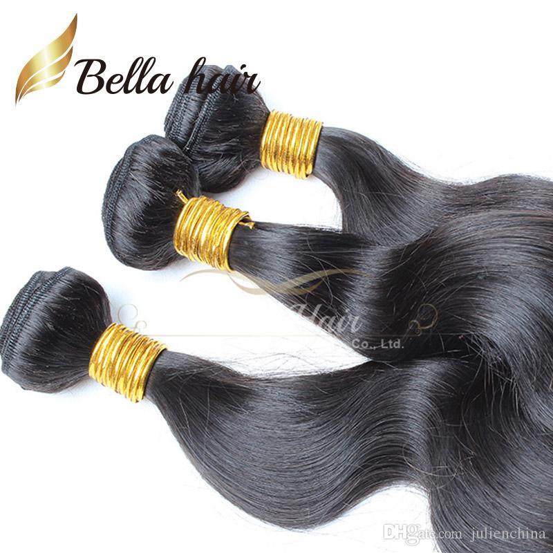 Bellahair® 10-24 tums brasilianska väv 3st / Human Hair Weft Natural Color 9a Grad Extensions Julienchina