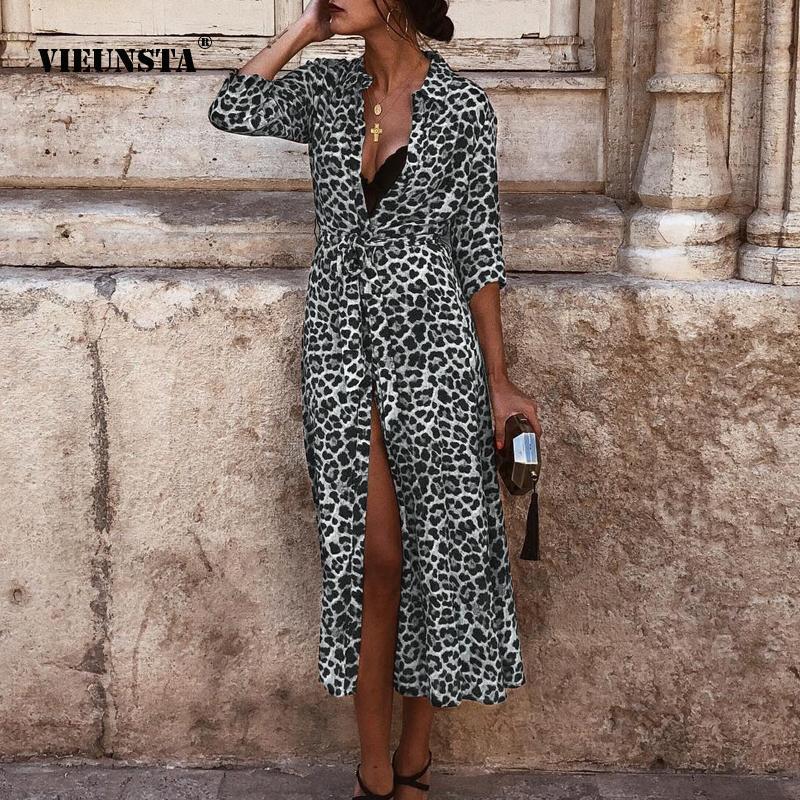 f85206b6761 2019 VIEUNSTA Sexy Leopard V Neck Long Dress Women Autumn Long Sleeve Split  Maxi Dresses Fashion Turn Down Collar Shirt Dress Belt From Yyliang