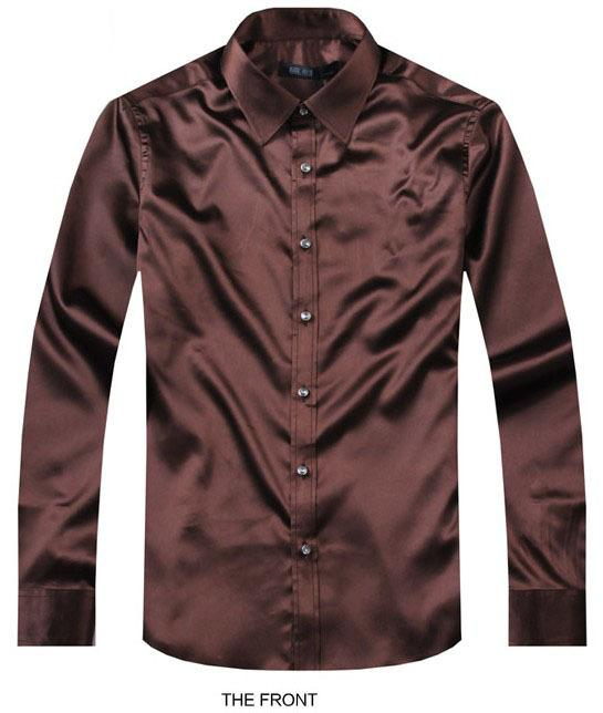 2017 Coffee Luxury the groom shirt male long sleeve wedding shirt men's party Artificial silk dress M-3XL 21 colors FZS24