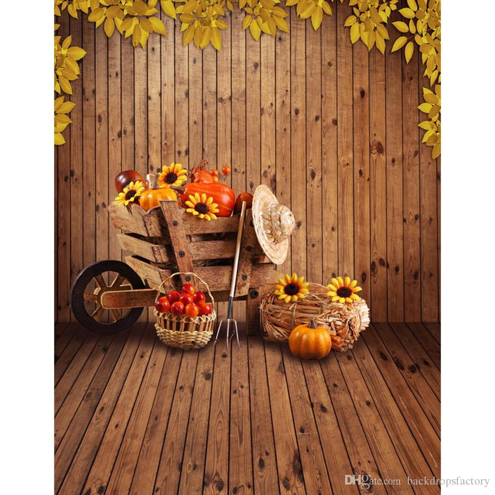 2018 wooden wall and floor halloween backdrop vintage printed trolley fruits sunflowers pumpkin baby kids photo studio backgrounds from backdropsfactory