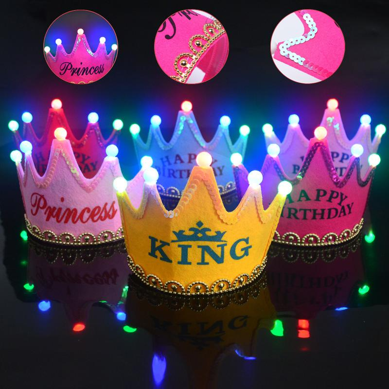 Lighting Crown Party Hat With Colorful LED Adult Kids Birthday Cap Luminous Glow Wedding Decorations Headband 30th Hats