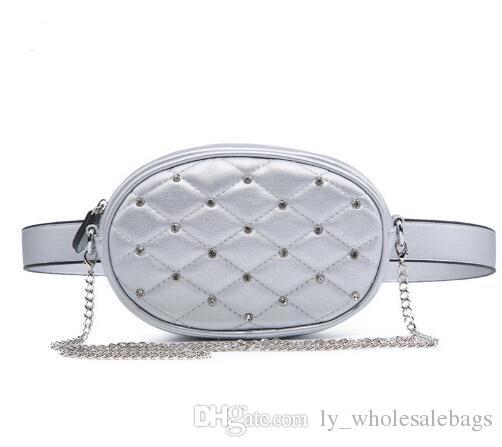 42ba2a556 Compre Novo Design De Diamantes Cintura Pacotes De Prata Acolchoado PU  Sacos De Ombro De Couro De Veludo Preto Saco Da Cintura Moda Feminina Saco  WLHB1741 ...