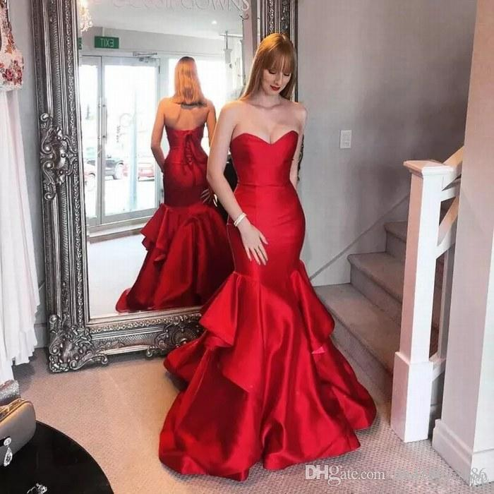26f80ef59 Compre Sin Mangas Sin Tirantes Rojo Sirena Mujeres Ocasiones Especiales  Vestido De Fiesta Vestidos De Noche Vestido De Fiesta A  89.45 Del  Dh418623186 ...