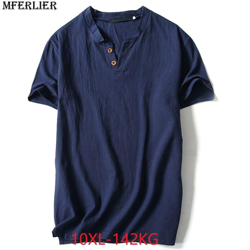 c7dd8c1eaabd MFERLIER Plus Size Big 6XL 7XL 8XL 9XL 10XL Men Cotton Linen T Shirts Short  Sleeve Cheap Vintage Summer V Neck TShirt Loose Blue T Shirt Shirts Shirts  And ...