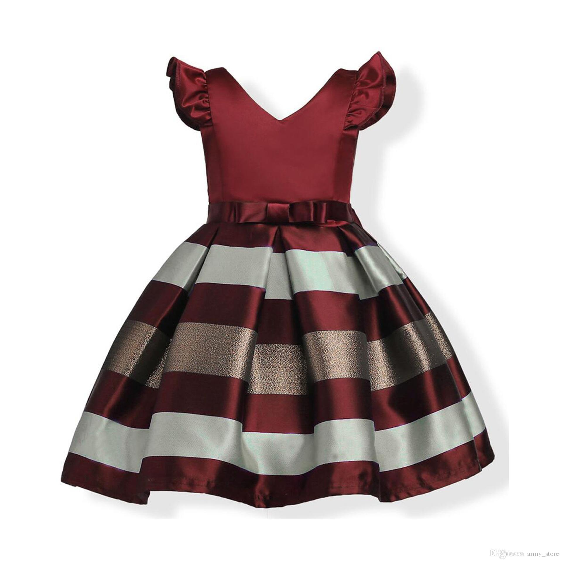 Best European Style Baby Dress Kids Costume Bowknot Striped Fly