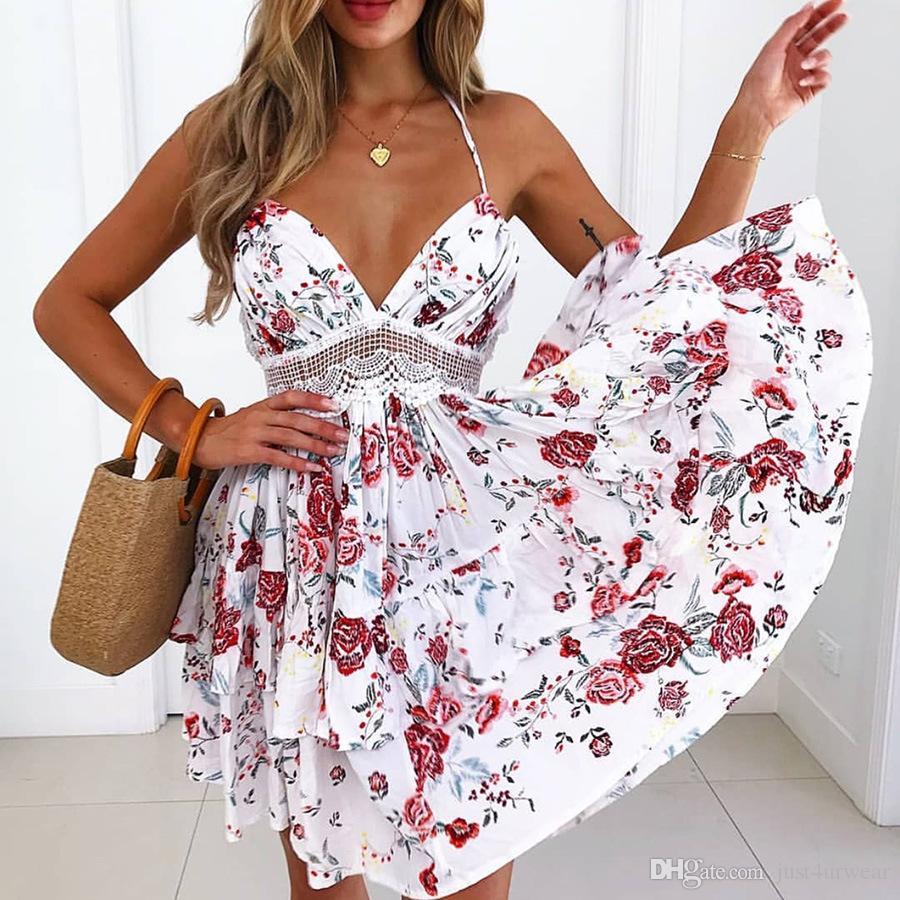 Kadın Askı Elbise Çiçek Seksi Dantel Elbise Bel Trim Tasarım A-Line Tatil Street Plaj Spagetti Kayışı Elbise