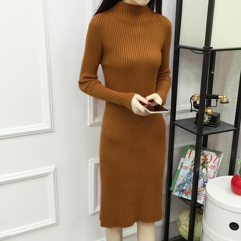 5ec52892926 2019 Women Autumn Winter Sweater Knitted Dresses Slim Elastic Half High  Neck Long Sleeve Sexy Lady Bodycon Robe Dresses Vestidos D209 From Ruiqi03