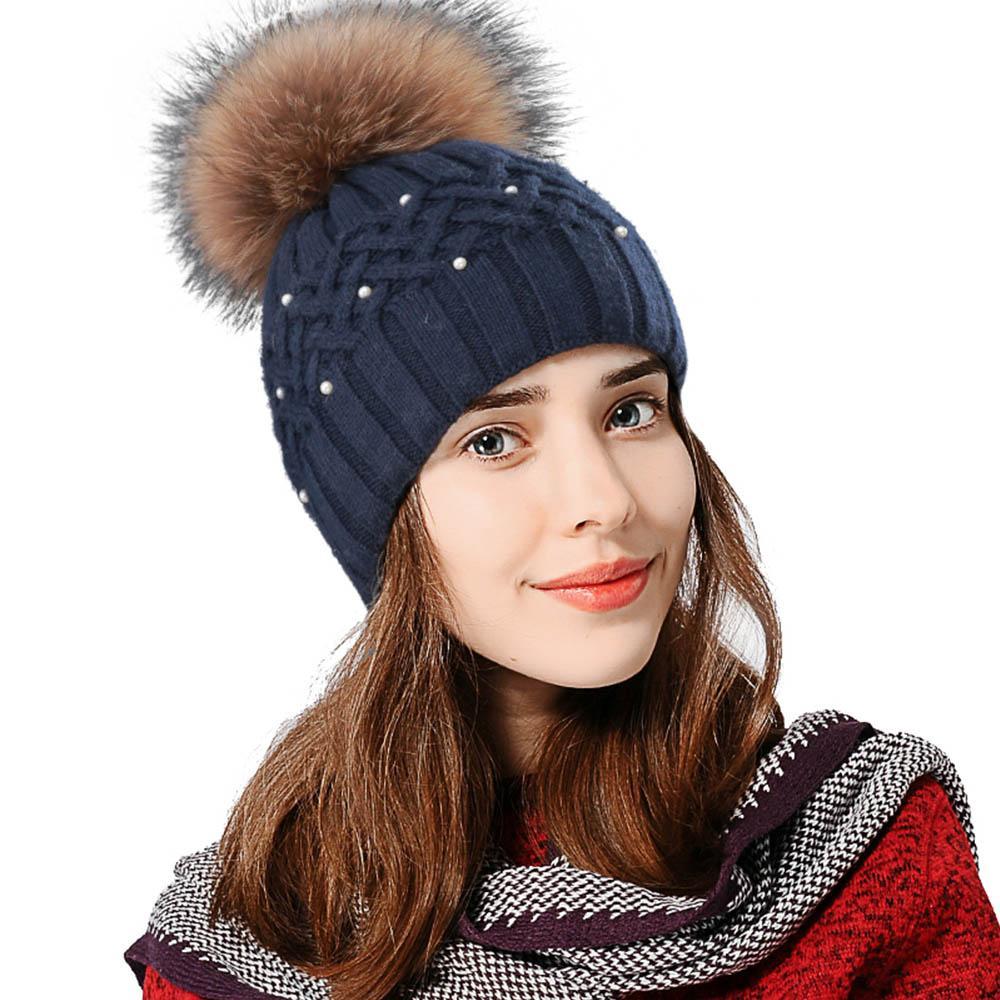 FS Winter Black Beaded Rabbit Beanies Ladies Knitted Hat Elegant Warm Hats  Female Caps 2018 Brown Raccoon Fur Ball Double Deck Black Baseball Cap  Knitted ... a8db1bafa96