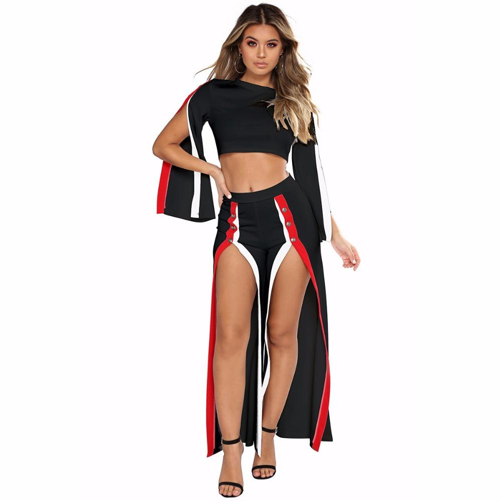 167d51334d4d 2019 EleClub Party Overalls WomenTwo Pieces Striped Rompers Womens Jumpsuit  Long Sleeve High Split Wide Legs Pants Sexy Jumpsuit From Pamele