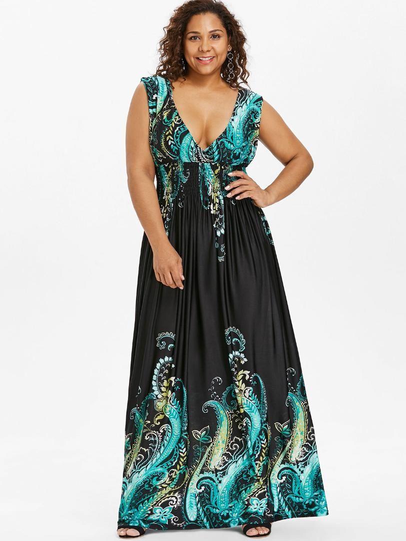 Wipalo Summer Paisley Plunge V Neck Bohemian Plus Size Women Dress Casual  Beach Maxi Dress Big Size 5XL Elegant Party Lace Sun Dresses Cute White  Dresses ... 9ca3e5624bb4