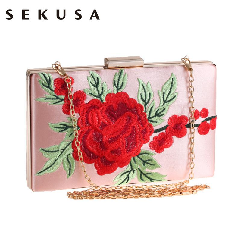 59486f9cdbee Vintage Embroidery Rose Printed Floral Women Evening Bag Pink White Black  Evening Bag Messenger Chain Shoulder Small Handbags Handbags Purses From  Allinbag
