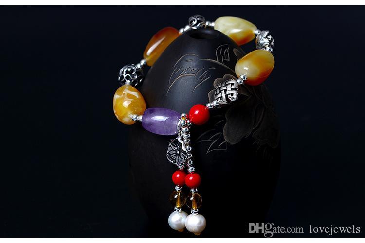Fascino dei monili della cera d'api Disegno diy originale del braccialetto della nappa del foglio del loto della cera del vento della cera nazionale del festival dell'argento sterlina 925
