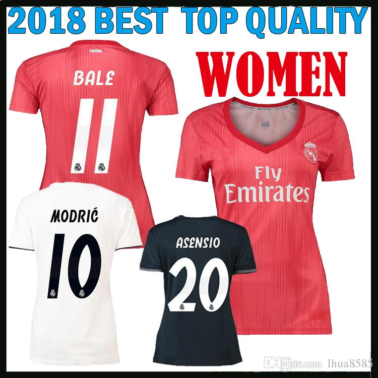 2018 2019 Real Madrid Home Away 3RD Camiseta De Fútbol Femenino BALE ISCO  ASENSIO KROOS Camiseta De Fútbol Madrid 18 19 RONALDO Camisetas De Fútbol  Por ... bbf9e99171920