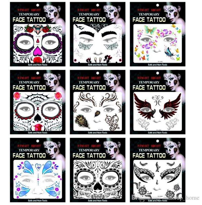 Day Of The Dead Skull Face Halloween Festival Party Tattoo Stickers