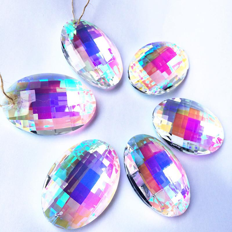 63MM Gorgeous Crystal Faceted Pendants Clear AB Glass Window Hanging Prisms Suncatcher For Lovely Christmas Tree Decoration