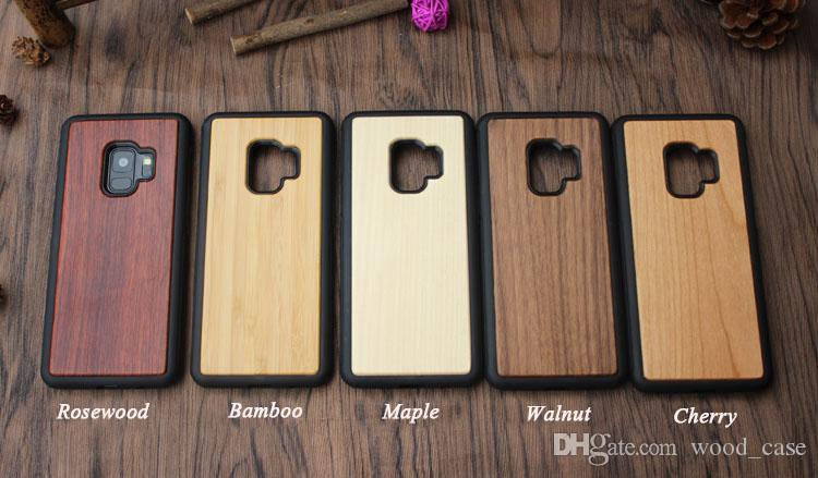 Samsung Galaxy S9 PLUS S8 için Not 8 S7edge Gerçek Ahşap Kasa Telefon Kapak Doğal Bambu Ahşap + TPU Yumuşak Telefon Kılıfı için Iphone X 7 8 6s artı