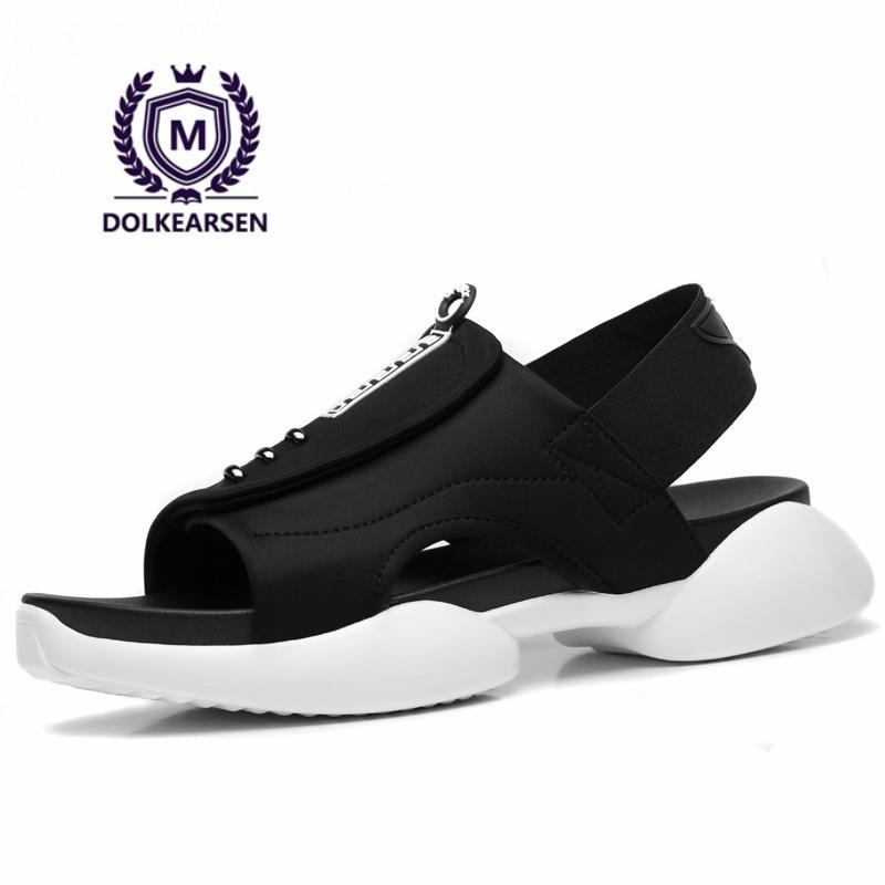 951ca4dc305407 DOLKEARSEN 2017 Summer Men Sandals Simple Black Sewing Casual Shoes ...