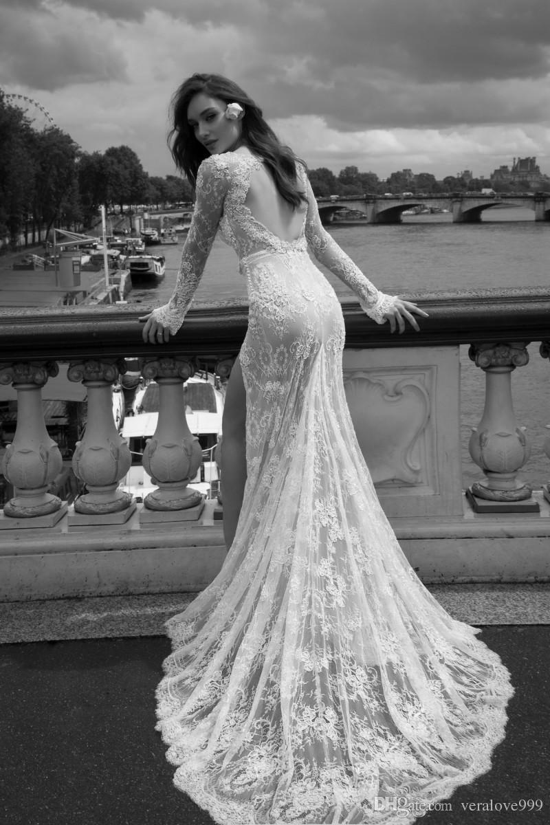 Abiti da sposa sexy della sirena a spacco alto 2018 con scollo profondo con scollo a V e maniche lunghe in tulle con applicazioni plus size