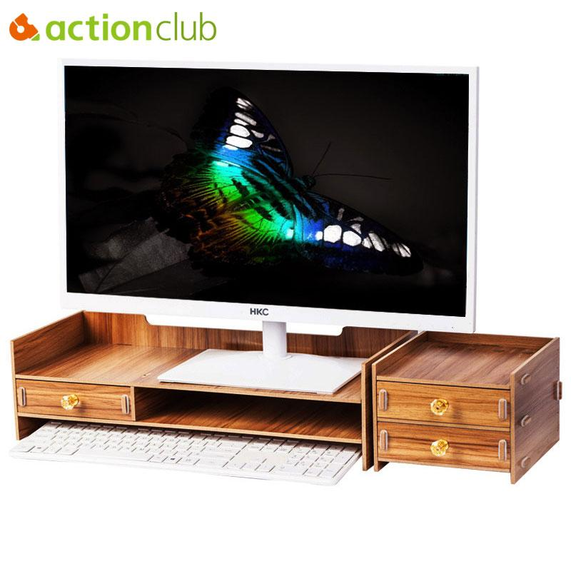 Actionclub Wooden Desktop Monitor Stand Riser Holder Monitor Stand