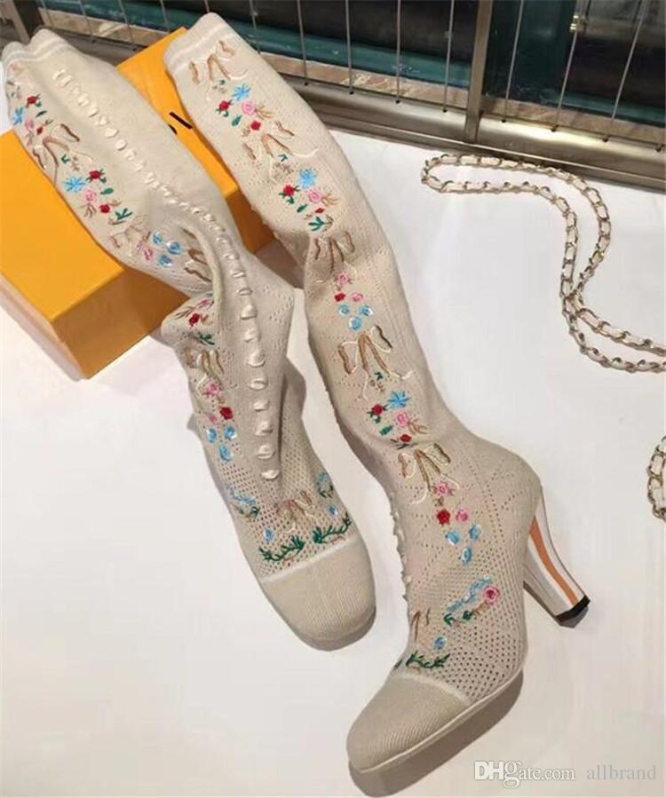Europe United States new stovepipe stretch wool socks boots embroidered over knee boots sexy high-heeled autumn winter boots
