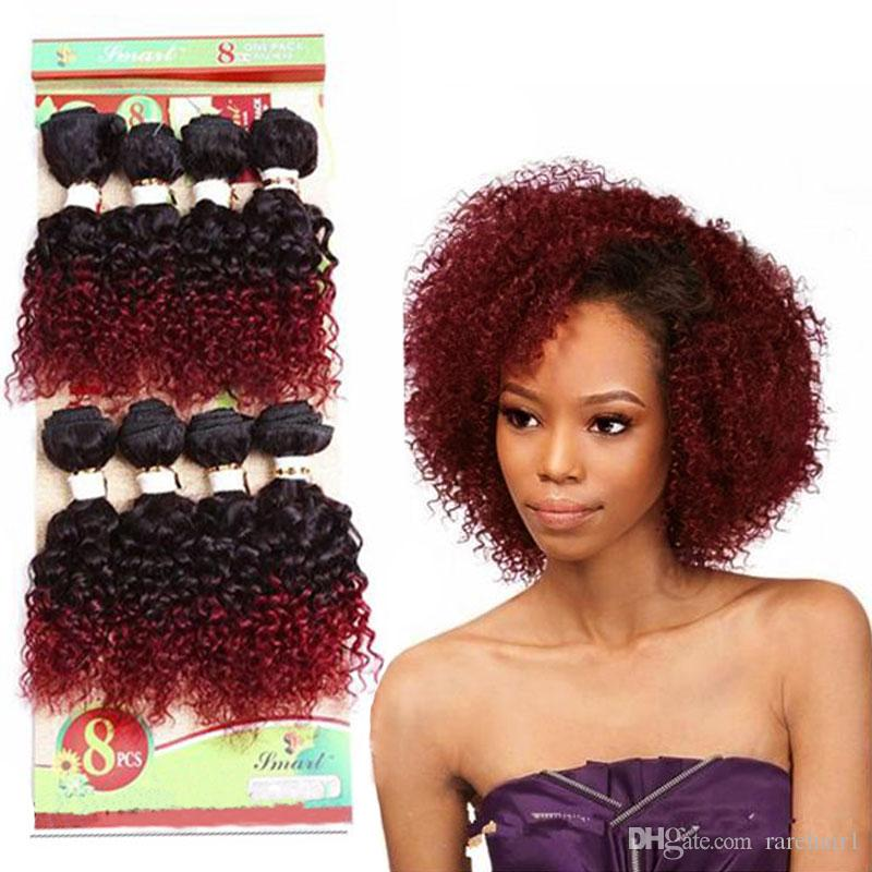 2019 8 Inch Jerry Curl Bundles Sew In Hair Extensions Burgundy Curly