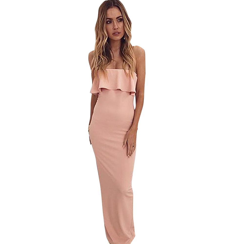 4de551ddf Las mujeres atractivas del hombro vestidos elegantes damas sin tirantes con  volantes Maxi vestido sólido Bandeau noche Prom vestido ajustado largo ...
