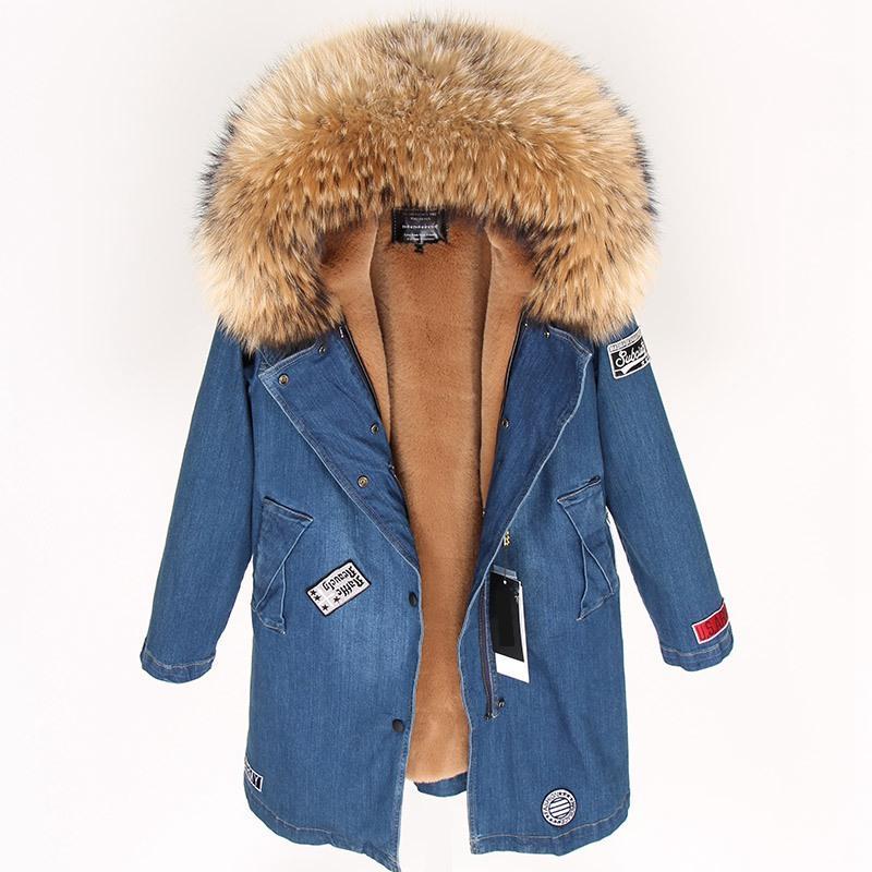 migliore a buon mercato b099b dcd74 Cappotto invernale Donna Giacca di jeans Spessa Parka Reale Collo di  pelliccia di procione Cappotti con cappuccio Moda Cappotto lungo Giacche  donna ...