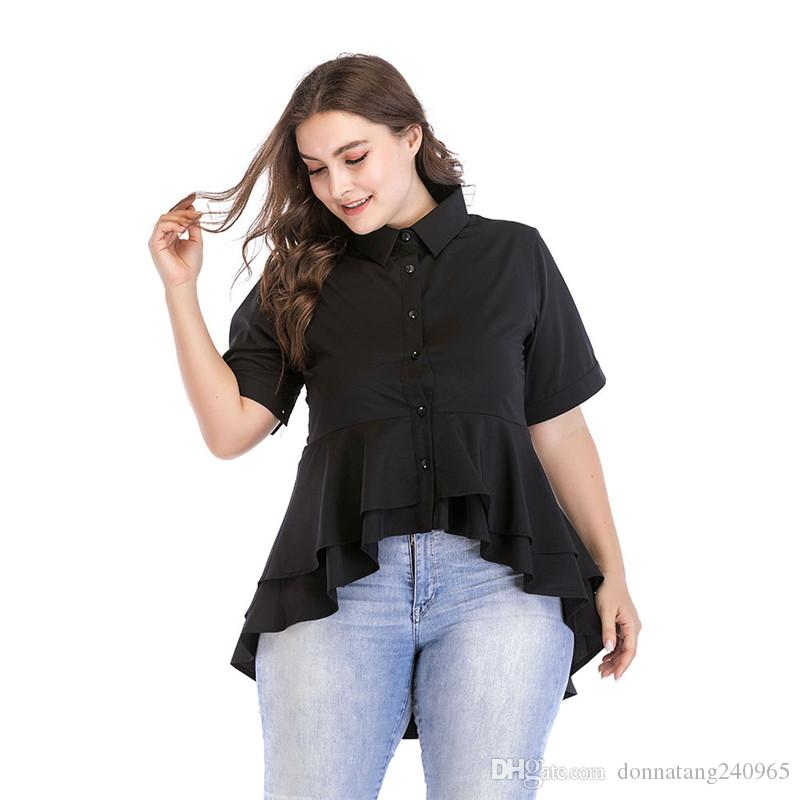 a3bdc5d1afb 2019 Fat Mm Slim Women Shirt Plus Size L 7XL Double Swallow Tail Hem Shirt Women  Fashion New Style Asymmetrical Women Shirts From Donnatang240965