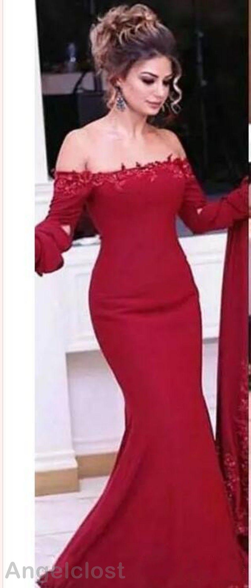 Dunkelrote Meerjungfrau Abendkleider 2019 Schulterfrei Kurze Ärmel Bodenlange Spitze Applikationen Elegante Prom Party Kleider Nach Maß Arabisch