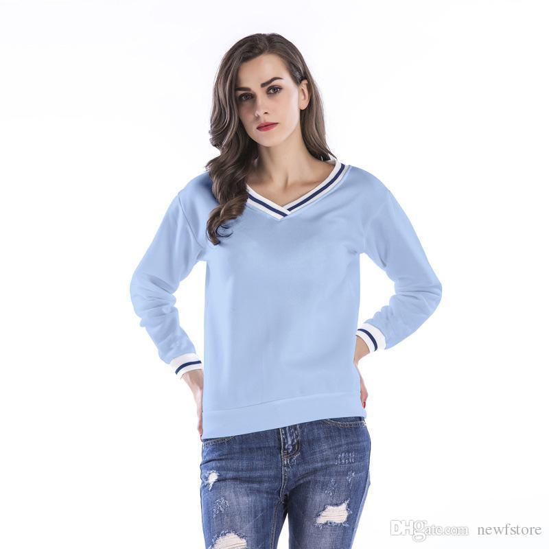 Acheter Femmes Couleur Unie Tshirt Printemps Mode Col V À Manches Longues  Top Tee Tous Les Matched T Shirt Lâche Tops Tee Plus Velvet Pull En Forme  De Coeur ... 675de4e7e46