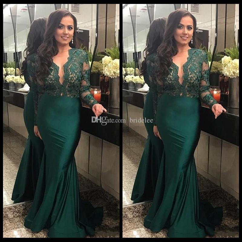 2020 Dark Green Illusion Langarm Abendkleider Mit Tiefem V-ausschnitt Spitze Meerjungfrau Abendkleid Lange Party Kleider