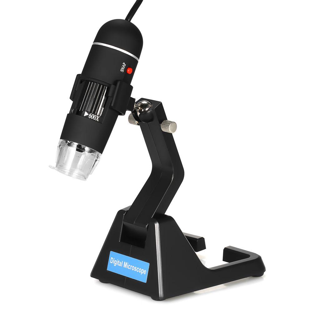 25X-600X USB Dijital Mikroskop Kamera Zoom Endoskop Büyüteç Gözlük ile 8 LED Işık Evrensel Standı Gerçek 2.0MP Video kamera